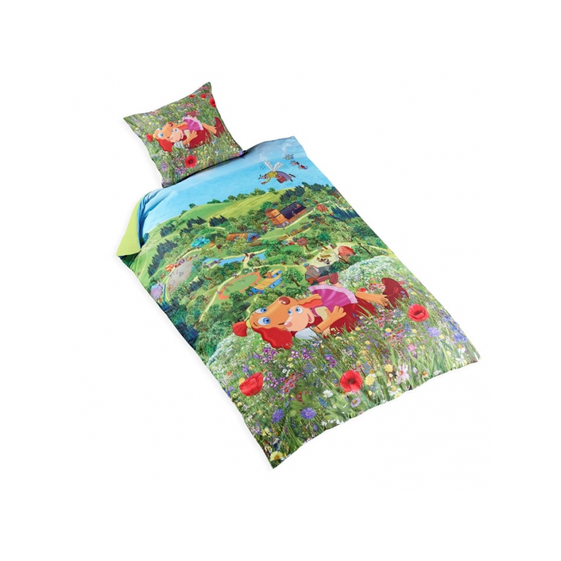 "Single Bedsheet ""Lotte and Roosi at the Countryside"" 150x210cm"