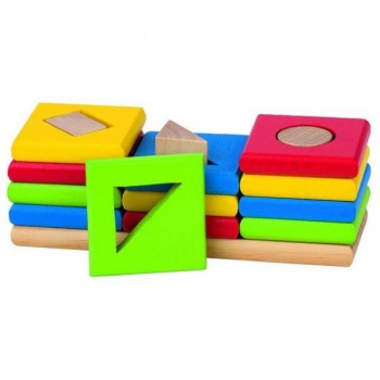Shape and color sorting game with 3 towers made of wood